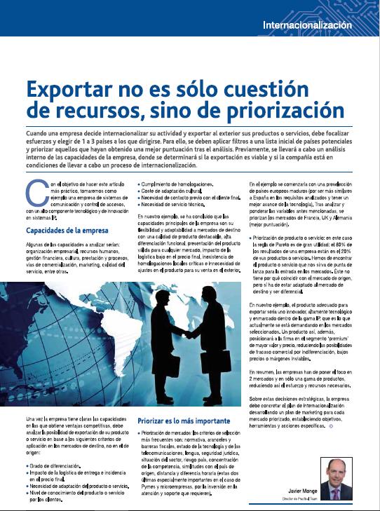 Exportar no es sólo cuestión de recursos, sino de priorización